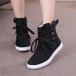 Spring Fall Canvas Shoes Australia - 2019 spring and summer new Korean women's boots high shoes canvas shoes round head strap student flat casual women's shoes