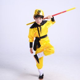sun suits Australia - sun wukong costumes for children funny cosplay suit for boys monkey clothing yellow halloween cosplay costumes kids
