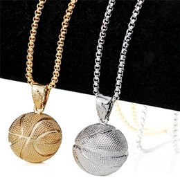 Wholesale Men Basketball Pendant Necklace Gold Stainless Steel Chain Necklace Women Men Sport Hip Hop Jewelry Basketball Lovers Gift Accessories