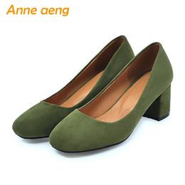 Black Blocks Australia - women pumps block middle heel women shoes round toe flock shoes classic sweet ladies black green big size 33-43 #37559