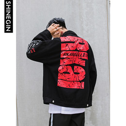 Urban Clothes For Men Australia - SHINEGIN Destroyed outerwear coat mens clothing Letter urban streetwear hip hop jacket for men ripped jeans jacket men 230W