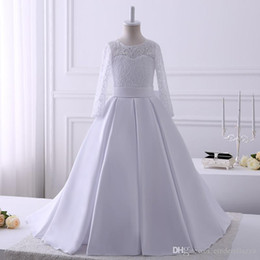 Pics Wedding Dresses Australia - Hot Sale Real Pics Top Lace Sstin Flower Girl Dresses For Wedding Floor Length Long Sleeves Kids Wedding Party Gown Custom Made
