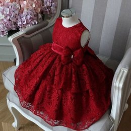 $enCountryForm.capitalKeyWord Australia - 2019 Vintage Flower Girls' Dresses Burgundy Lace Bow Baby Infant Toddler Baptism Clothes With Tutu Ball Gowns Birthday Party Dress Tailor