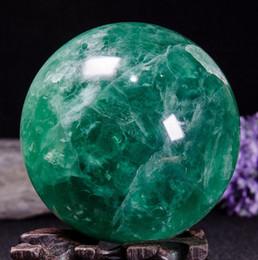 Folk Art Christmas Australia - Free shipping 100% 80mm Natural Green Fluorite quartz crystal ball natural gemstone crystal sphere healing for Christmas decoration