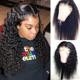 human hair wig long curly NZ - Lace front 360 Wigs Pre Plucked Curly Long Black Glueless Peruvian Virgin Hair Free Shipping 100% Human Hair Wigs Cheap With Baby Hairs