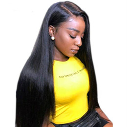 $enCountryForm.capitalKeyWord Australia - Front Lace Wig Brazilian Human Hair Unprocessed Virgin Long Straight Black Color Full Lace Wigs With Baby Hair Side Part