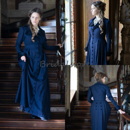 royal blue victorian ball dress Canada - Retro Royal Victorian Prom Dresses With Sleeve Plus Size Button Decoration Formal Evening Dresses Halloween Gothic Vampire Aulic Party Gown