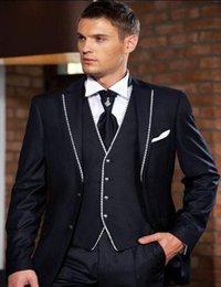 Novo Design Azul Marinho Noivo Smoking Lapela Entalhe Dois Botões Groomsmen Mens Vestido de Casamento Excelente Homem Terno (Jaqueta + Calça + colete + Gravata) 398