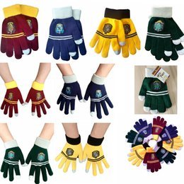 Touch fingers online shopping - Harry Potter Gloves knit Cosplay Touch Screen College Glove Gryffindor Hogwarts Winter Warm Finger Gloves Christmas Party Favor GGA1409