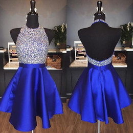 Short StrapleSS prom dreSS white online shopping - Royal Blue Satin Backless Homecoming Dresses Jewel Halter Sequins Crystal Backless Short Prom Dresses Sparkly Red Party Dresses