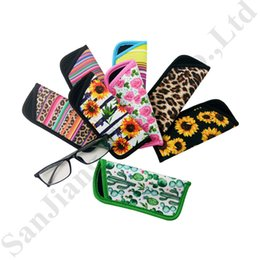 TiTanium semi frame glasses online shopping - RTS Eyeglasses Pouch Neoprene Floral Carry Bag Sunglasses Portable Eyewear Case Container Dust Waterproof Lily Sunflower Storage Bags C82104