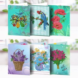 paintings birds flowers 2019 - 5D DIY Christmas Diamond Painting Cards 2019 New Diamond Embroidery Flowers and Birds Postcards Diamond Mosaic Gift chea
