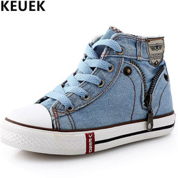 spring autumn child canvas shoes Australia - Spring autumn Fashion High Help Canvas Shoes Children Flats Breathable Casual Kids Denim Side Zipper Boys Girls Sneakers 04 Y190523