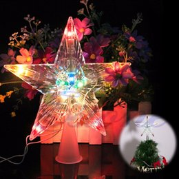 led battery christmas light ornament 2019 - Changing Christmas Tree Star Wedding lights series LED battery lantern festival decoration flashing stars waterproof lam