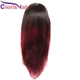 silky braiding hair 2019 - Long Braided Ombre Wigs 1B 99J Peruvian Straight Lace Front Wig For Black Women Colored Wine Red Glueless Wig Pre Plucke