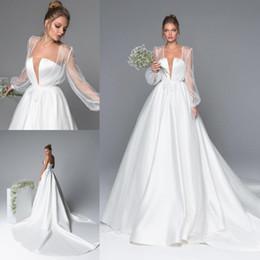 Wedding Dresses Sheer Jacket Australia - Amazing A Line Satin Wedding Dresses With Long Sleeves Jacket Sheer Plunging Neck Bridal Gowns Sweep Train robe de mariée