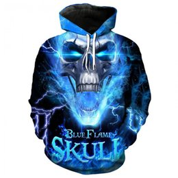 70701ad53582 Men Skull Hoodie Blue Flame Ghost Rider 3D Print Pullover Multi-colored  Skull Punisher Hooded Hip Hop Tops Sweatshirt
