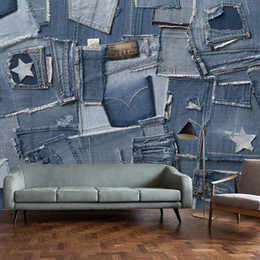 Wholesale european designer jeans resale online – designer Drop Shipping Custom Photo Wallpaper Modern Fashion European Retro Jeans Denim Fabric Creative Murals Cafe KTV Bar Stickers