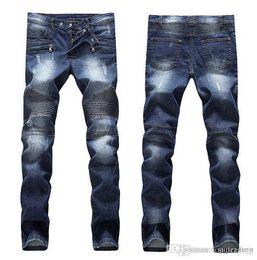 red plaid pants plus size 2019 - Mens Distressed Ripped Skinny Jeans Fashion Designer Mens Shorts Jeans Slim Motorcycle Moto Biker Causal Mens Denim Pan