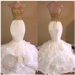 $enCountryForm.capitalKeyWord Australia - Casamento Sexy Mermaid Wedding Dresses 2019 Gold Appliques Lace Ruffles Tiered Bridal Gowns Zipper Open Back Robe De Mariee