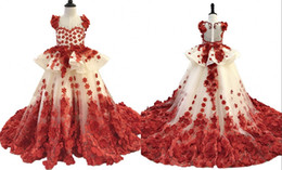 $enCountryForm.capitalKeyWord Australia - Amazing 3D Floral Flowers 2019 Girls Pageant Dresses Red Champagne Tulle Princess Designer CheapToddlers Flower Girls First Communion Dress
