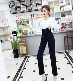 $enCountryForm.capitalKeyWord Australia - Spring 2 Piece Set Women White V-neck Shirts High Waist Black Pants With Bow Fashionable Women Sets Clothes Office