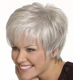Cheap shorts for ladies online shopping - hot cheap wave Synthetic Hair Wigs women Wig side fringe Short Wig For lady wigs sliver short hair FZP181