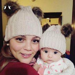 $enCountryForm.capitalKeyWord Australia - TOPMELON Hat Mom and Baby Pompom Beanie Two Piece Adorable Caps Knit Warm Winter Girls Boys Crochet Matching Hats