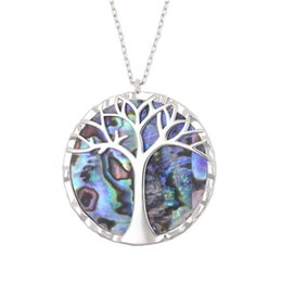 $enCountryForm.capitalKeyWord Australia - New Fashion 925 Sterling Silver Tree of Life Pendant Natural Abalone Shell Necklace Glamour Women Wedding Jewelry