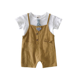 $enCountryForm.capitalKeyWord UK - Cute Baby Boys Suits Summer cotton Boys Clothing Sets baby boy clothes short-sleeved T-shirt+ Suspenders shorts Kids Outfits A4567
