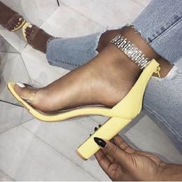 $enCountryForm.capitalKeyWord Australia - Women Sandals Transparent Block High Heels Jelly Shoes Ladies Summer Luxury Crystal Clear Strap Open Toe Sandals Black Yellow