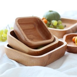 plate bowl dishes Australia - 1Pc Square Wood Bowl 4 Sizes Salad Bowl Set Large Small Wooden Plate Snack Dessert Serving Dishes Food Container Wood Tableware T191014