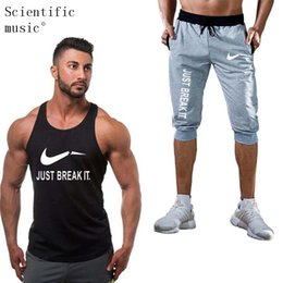 8207b1f70b61 2019 New Fashion Summer Short Sets Men Casual JUST BREAK IT Printing Suits  For Men Chinese Style Suit Sets Tank Tops + Shorts