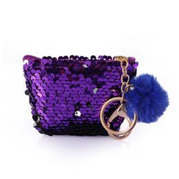 $enCountryForm.capitalKeyWord Australia - Women Girl Mermaid Coin Bag With Cute Plush Ball Sequin Money Pouch Mini Wallet Glittering Coin Purse Zipper Earphone Package
