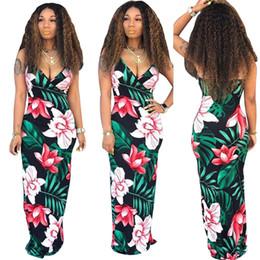 $enCountryForm.capitalKeyWord NZ - Women Flora Print Deep V Neck Sling Dress Spaghetti Bodycon Dresses Bohemian Slim Dresses Girl Backless Maxi Dresses Beach Long Skirt C51407