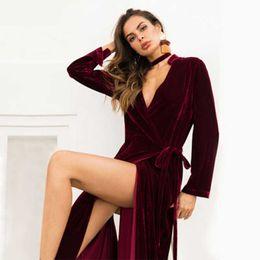 Ladies Long veLvet dress online shopping - Ladies Long Cardigan Coat Women V Neck Split Dress Dual Use Velvet Lace Skirt Warm Solid Color Long Coat