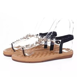 China Woman Sandals Shoes Summer Rhinestones Chains Gladiator Flat Sandals Ladies Crystal Flat Roman Beach Flip Flops Q-209 cheap ladies shoes crystals suppliers