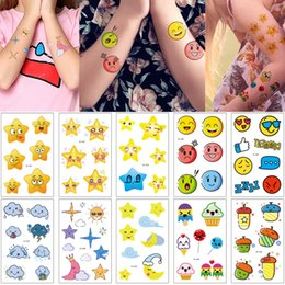 Ice Cream Man Australia - Cute Cartoon Expression Star Tattoo Sticker Designs for Woman Man Body Neck Arm Wrist Foot Ice Cream Moon Dark Clouds Kid Temporary Tattoos