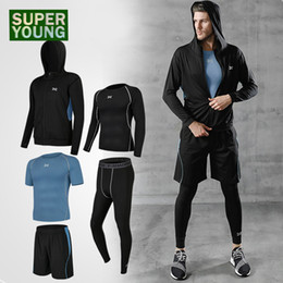 $enCountryForm.capitalKeyWord Australia - Sport Compression Pants Jogging Suits for Men Gym Wear Fitness Clothing Running Workout Clothes Yoga Set Training Jackets Shorts