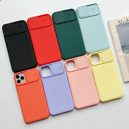camera sliding Canada - Slide Camera Protection Shockproof Lens Phone Case for iPhone 11 Pro SE2020 X XR XS Max 7 8 Plus Solid Soft TPU Cover