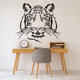 $enCountryForm.capitalKeyWord NZ - 1 Pcs Tiger Head Silhouette DIY Wall Stickers For Kids Rooms Wild Animal Vinyl Adhesive Removable Decals Wall Art Wallpaper Home Decor