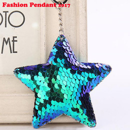 pendant couple boy girl UK - Sequin Keychain Keyring Pentagram Star Dull Silver Blue Red Color Couple Key Ring bag pendant for girl