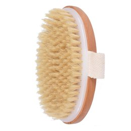 naturals flower UK - Boiled Good Quality Natural Bristle Body Brush Wooden Bath Shower Brush SPA Body Brush without Handle