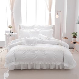 Discount princess bedding - 4 6 8pcs Princess style 100% cotton bed linen set lace bedding sets bedclothes Twin queen king size duvet cover skirt se