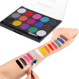 face body color painting Australia - 15 Colors Body Art Oil Painting Color Festival Makeup Face Paint Oil Special Effects Stage Fake Wound Scars Wax Spatula Tool