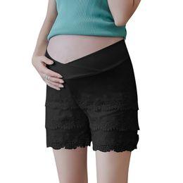 $enCountryForm.capitalKeyWord Australia - Black White Pregnant Women New Summer Low Waist Fashion Lace Pants Tassel Lace Patchwork Cotton Maternity Straight Shorts Sweet