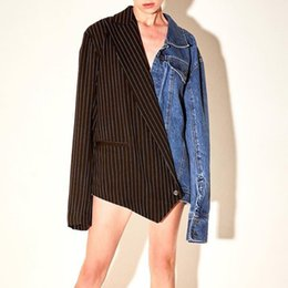 $enCountryForm.capitalKeyWord Australia - 2019 Autumn New Fashion Women Contrast Stripe Stitching Denim Suit Deep V Lapel Long Sleeve Irregular Loose Street Wind Jacket