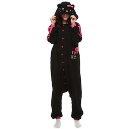 $enCountryForm.capitalKeyWord NZ - Adult Cartoon Black Kitty Onesie Anime Costume Polar Fleece Cosplay Cat Pyjamas Halloween Carnival Jumpsuit Loose Masquerade Outfit