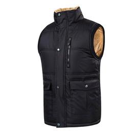 Diamond Vests Men UK - Puimentiua Plus Size 5XL Vest Men Winter Warm Vests Male With Many Pockets Casual Zipper Patchwork Sexy Sleeveless Jacket Vest