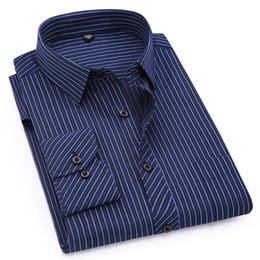 Mens Linen Shirt Xl UK - Plus Large Size 8xl 7xl 6xl 5xl 4xl Mens Business Casual Long Sleeved Shirt Classic Striped Male Social Dress Shirts Purple Blue Q190518